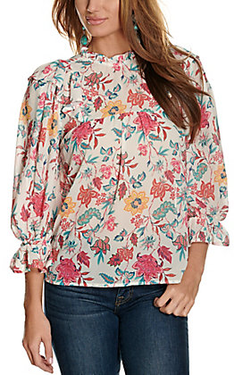 Flying Tomato Women's Ivory Vintage Floral with Ruffle 3/4 Sleeve Fashion Top