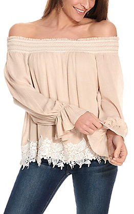 Flying Tomato Women's Beige with White Lace Off the Shoulder Fashion Top