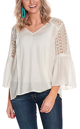 Flying Tomato Women's White with Lace 3/4 Bell Sleeve Fashion Top
