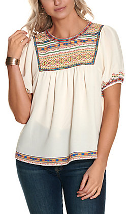 Flying Tomato Women's Ivory with Multi-Color Print Flutter Short Sleeve Fashion Top