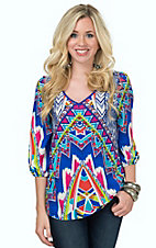 Karlie Women's Royal Blue with Multicolor Aztec V-Neck 3/4 Sleeve Top