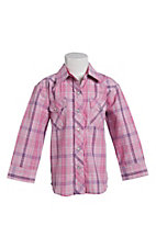 Cowgirl Legend Toddler Girls Pink Plaid Long Sleeve Western Snap Shirt