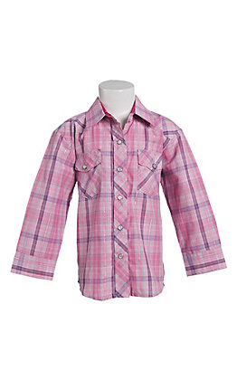 0671449157fdd Cowgirl Legend Toddler Girls Pink Plaid Long Sleeve Western Snap Shirt
