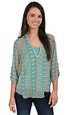 Karlie Women's Mint with Neon Yellow and Pink Diamond Print Chiffon 3/4 Sleeve Fashion Top
