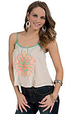 Flying Tomato Women's Cream with Neon Embroidery Sleeveless Crop Top