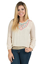 Flying Tomato Women's Ivory Embroidered Fashion Top