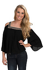 Flying Tomato Women's Black with Embroidered Neckline Open Shoulder 3/4 Sleeve Top