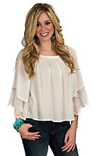Flying Tomato Women's White Gauze with Lace 3/4 Sleeve Top