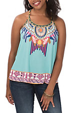 Flying Tomato Women's Mint Multicolor Print Racer Back Tank Top