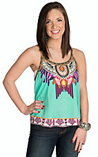 Flying Tomato Women's Mint Multicolor Print Camisole