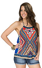 Flying Tomato Women's Blue with Multicolor Mixed Tribal Print Halter Top