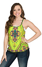 Flying Tomato Women's Lime Print Razor Back Top