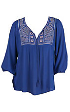 Flying Tomato Women's Royal Blue with Tribal Embroidery 3/4 Sleeve Peasant Top- Plus Sizes