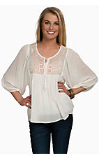 Flying Tomato Women's White with Soft Embroidery 3/4 Sleeve Peasant Top - Plus Sizes