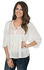 Flying Tomato Women's White with Tribal Embroidery 3/4 Sleeve Peasant Top