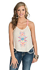Flying Tomato Women's Ivory Lace Camisole with Embroidery