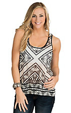 Flying Tomato Women's Black & White Print Racer Back Tank