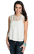 Flying Tomato Women's Ivory with Lace Top
