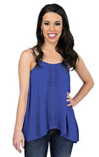 Flying Tomato Women's Solid Blue with Floral Crochet Tank