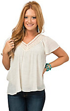 Flying Tomato Women's Ivory Gauze with Crochet V-Neck Top