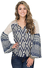 Flying Tomato Women's Navy Mixed Print with Lace Bell Sleeve Peasant Top