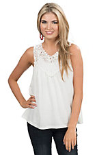 Flying Tomato Women's White with Lace Sleeveless Fashion Tank Top