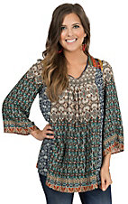 Flying Tomato Women's Taupe & Teal Multicolor Print 3/4 Sleeve Top