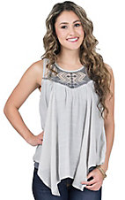 Flying Tomato Women's Grey with Tribal Embroidered Mesh Neckline