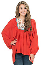 Flying Tomato Women's Rust with Embroidered Bib Dolman Sleeve Tunic