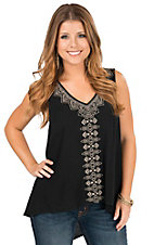 Flying Tomato Women's Black with Tan Embroidery Sleeveless Hi-Lo Fashion Tank Top