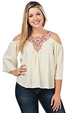 Flying Tomato Women's Cream with Embroidered Suede Cold Shoulder 3/4 Sleeve Top