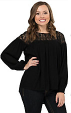 Flying Tomato Women's Black with Lace Yoke Long Sleeve Hi-Lo Top