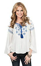 Flying Tomato Women's White with Blue Embroidery Long Sleeve Peasant Top