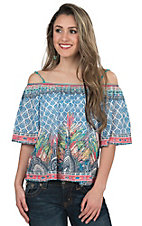 Flying Tomato Girl's Blue & Multicolor Mixed Print Cold Shoulder Fashion Top