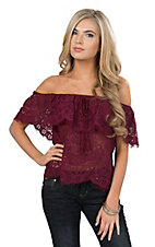 Flying Tomato Women's Burgundy Lace Off Shoulder Fashion Top
