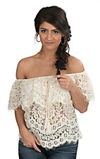 Flying Tomato Women's Cream Lace Off Shoulder Fashion Top
