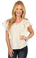 Flying Tomato Women's Cream with Floral Eyelet Short Flutter Sleeve Fashion Top