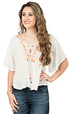 Flying Tomato Women's White with Neon Embroidery Short Sleeve Split Back Fashion Top