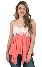 Flying Tomato Women's Coral with Cream Lace Bust Fashion Tank Top