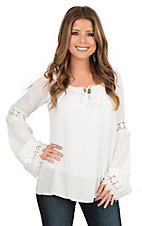 Flying Tomato Women's Ivory with Crochet Detailing Long Sleeve Peasant Fashion Top