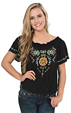 Flying Tomato Women's Black with Multicolor Floral Embroidery Short Sleeve Peasant Top