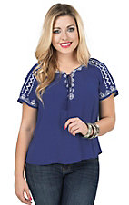Flying Tomato Women's Blue with White Aztec Embroidery Short Sleeve Top