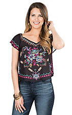 Flying Tomato Women's Black with Floral Print Short Sleeve Fashion Top