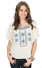 Flying Tomato Women's Cream with Blue Aztec Embroidery Short Sleeve Peasant Top