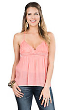 Flying Tomato Women's Coral with Lace Bodice Sleeveless Fashion Top