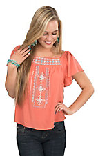 Flying Tomato Women's Coral with Turquoise Aztec Embroidery Short Sleeve Peasant Fashion Top