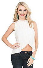 Flying Tomato Women's White with Crochet Neckline Hi-Lo Sleeveless Fashion Top