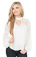 Flying Tomato Women's White with Lace Yokes Long Sleeve Peasant Fashion Top