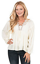 Flying Tomato Women's Ivory with Lace Up Front Long Cinched Sleeve Peasant Fashion Top
