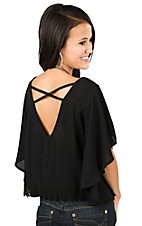 Flying Tomato Women's Black with Crochet Detailing Short Sleeve Poncho Fashion Top
